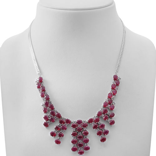 African Ruby (Ovl), White Topaz Necklace