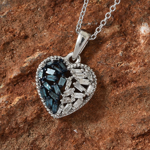Twilight Collection 0.25 Carat Blue and White Diamond Heart Pendant with Chain in Sterling Silver