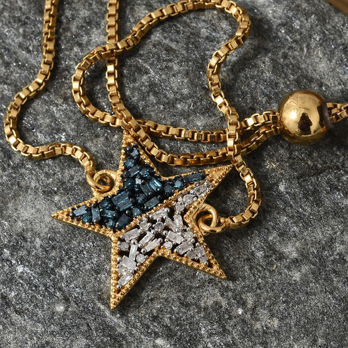 Blue and White Diamond Adjustable Star Bracelet in Gold Plated Silver