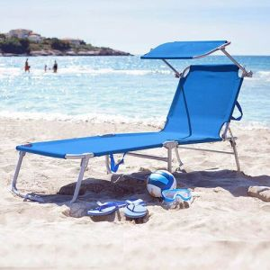 Folding Sun Lounger with Adjustable Backrest and Sun Shade Roof