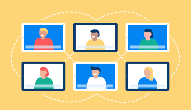 illustration of a group of people attending a virtual event