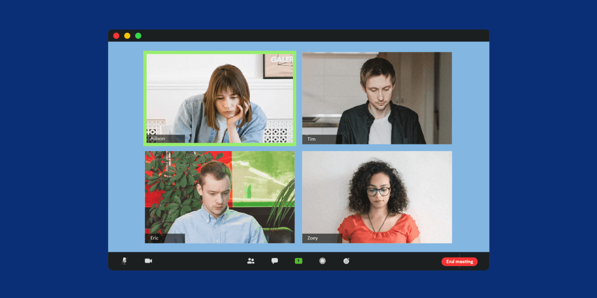 Image illustrating the frustrating experience of virtual breakout rooms with four people, two women, two men, in a video call, in a breakout room.