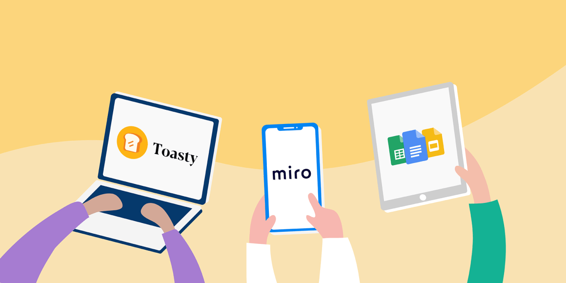 Illustrative image showcasing some of the online collaboration tools that make remote work productive. Platform logos displayed are Toasty, Miro, and Google Suite
