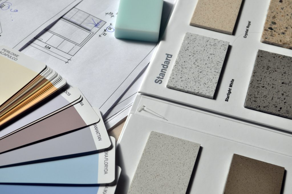 color chart and textures for home finishes
