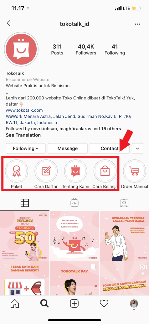 highlight story di instagram TokoTalk