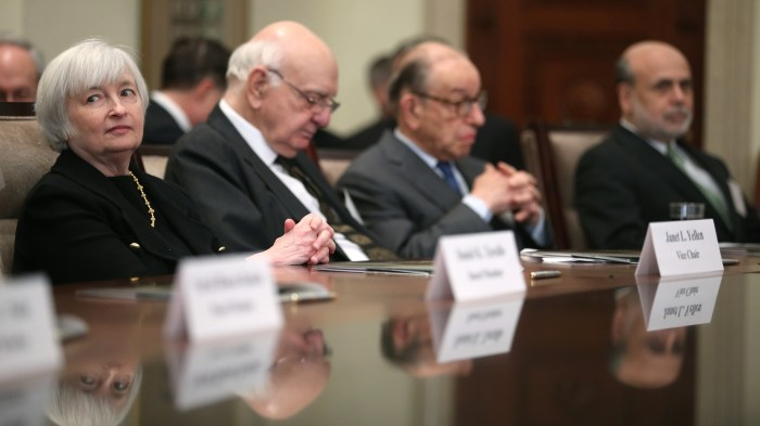 Fed chair Janet Yellen with former Chairmen Paul Volker, Alan Greenspan and Ben Bernanke, listen to remarks during the Federal Reserve centennial commemoration, 2013