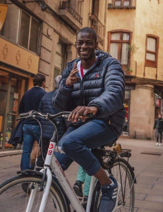 Tomiwa on a Bike