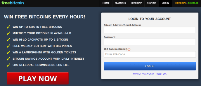 Главна страница на сайта за печелена на крипто валута freebitco.in