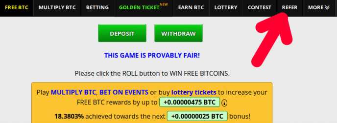 Меню за печелене на безплатни монети крипто freebitco.in