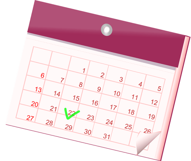 animated callendar tick in the 22th day