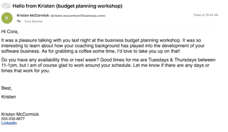 example of witten email
