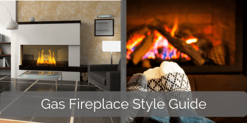 Different styles of gas fireplaces