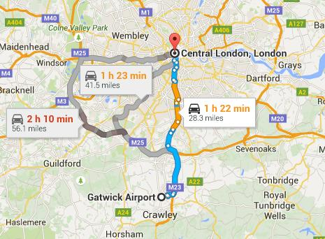 Approximate cost of a Taxi from London Gatwick Airport to Central London