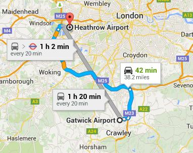 Cost of a Taxi from Gatwick Airport to Heathrow Airport