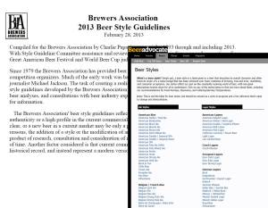 Brewers Assoc & BeerAdvocate Beer Style Guides