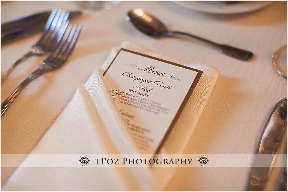 Belvedere Wedding reception menu