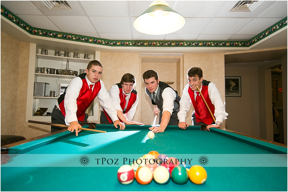 Wedding Groom playing Pool