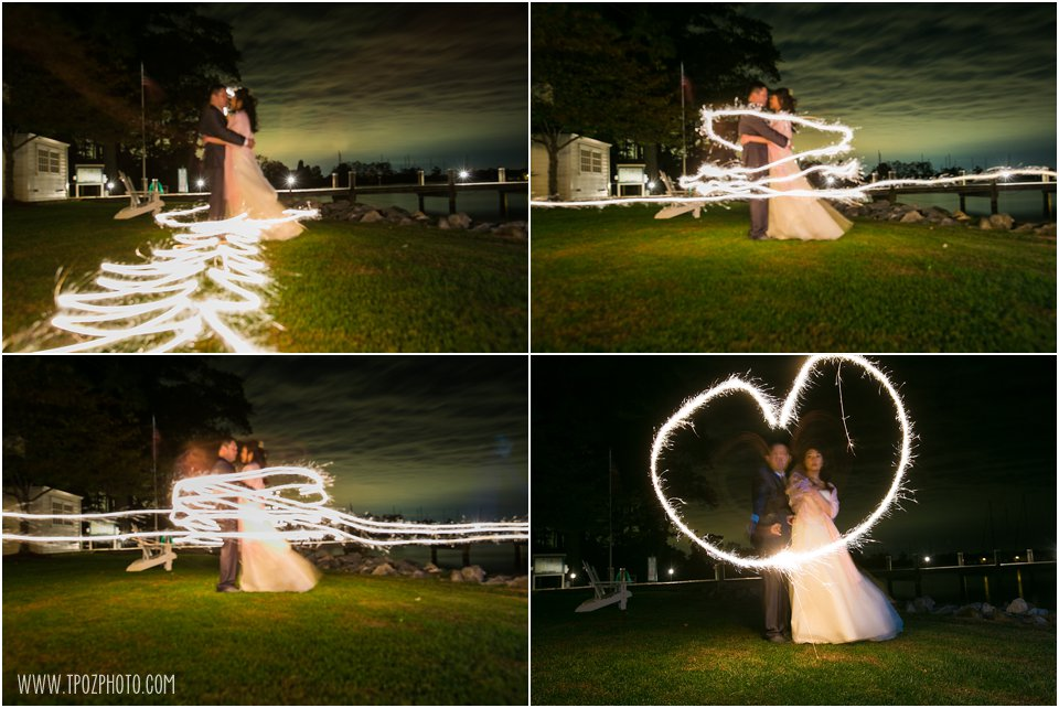 Sparklers Pictures at Osprey Point Inn Wedding