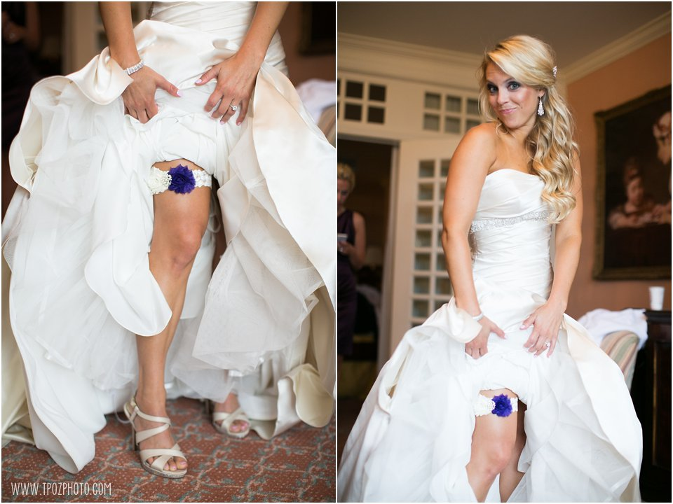 purple garter on a bride