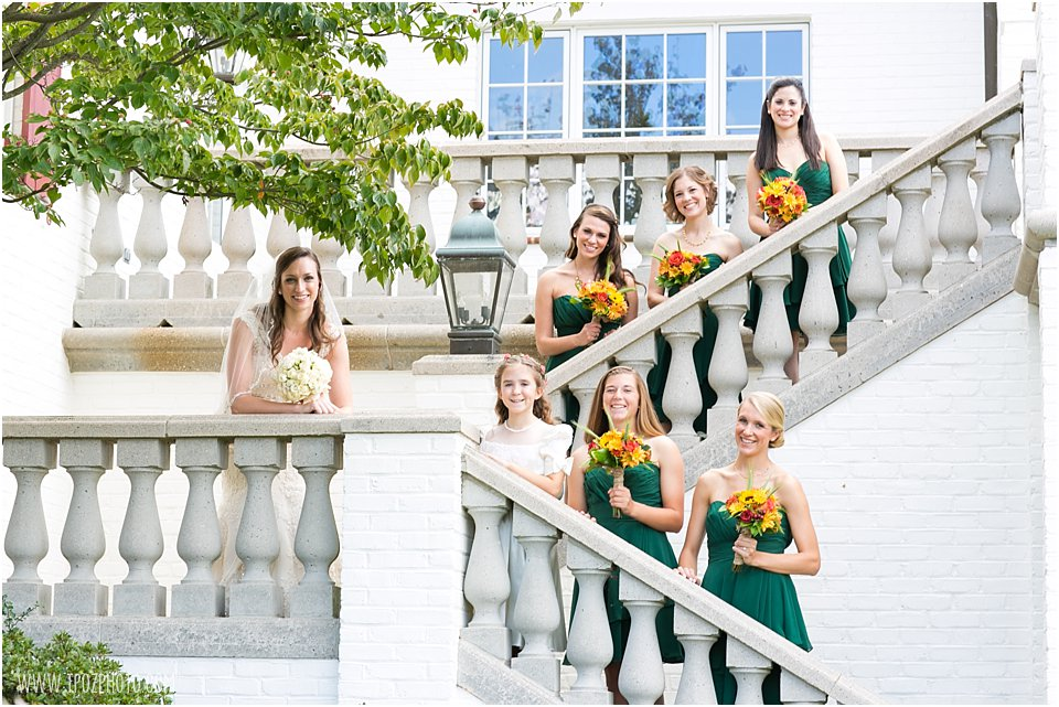 Bridesmaids on steps