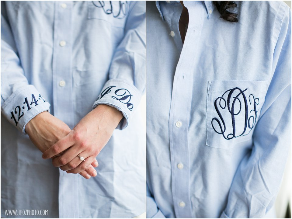 Embroidered Dress shirt with wedding date on cuff