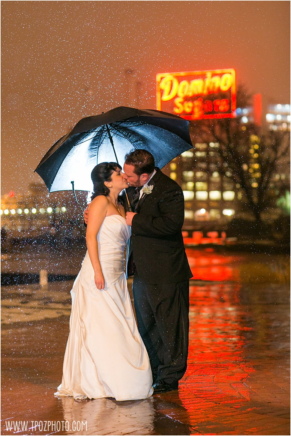 Baltimore Museum of Industry Wedding night rain photo