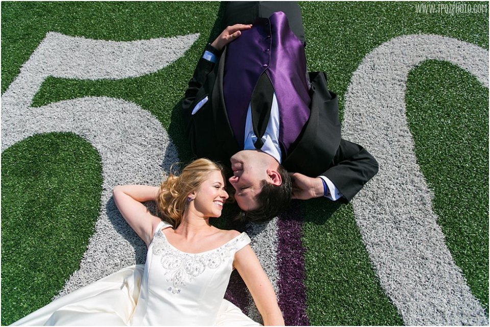 Ravens Stadium Football Field Wedding Photos