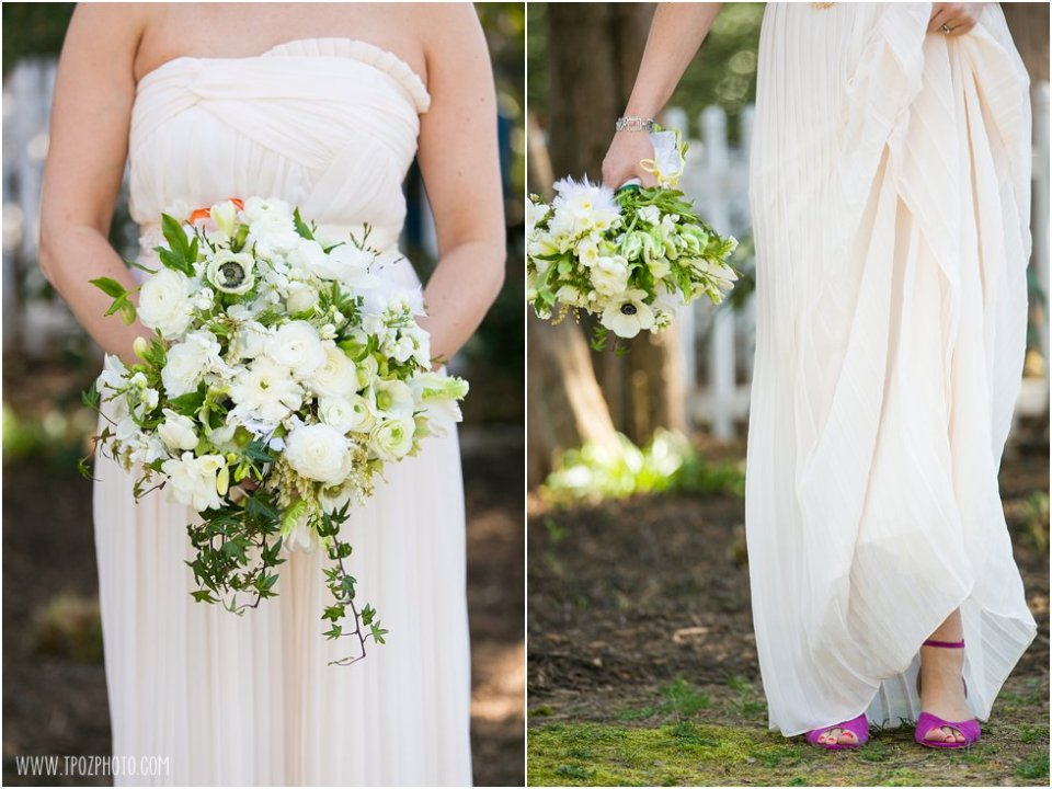 Bride Portraits with Local Color Flowers