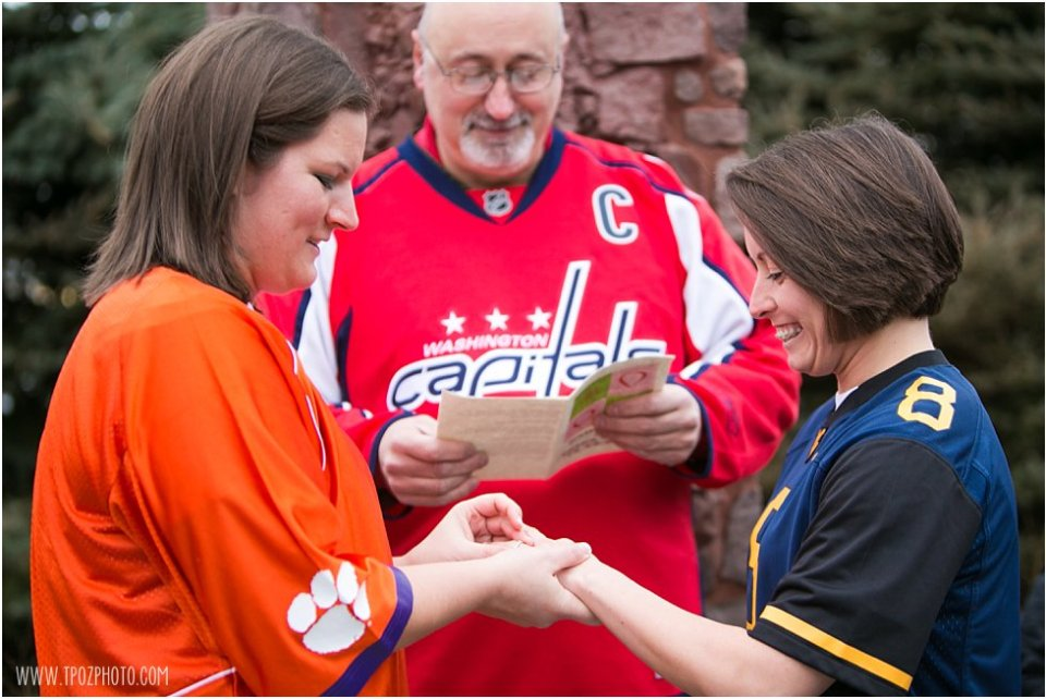 Lesbian Wedding Ceremony wearing favorite team jerseys