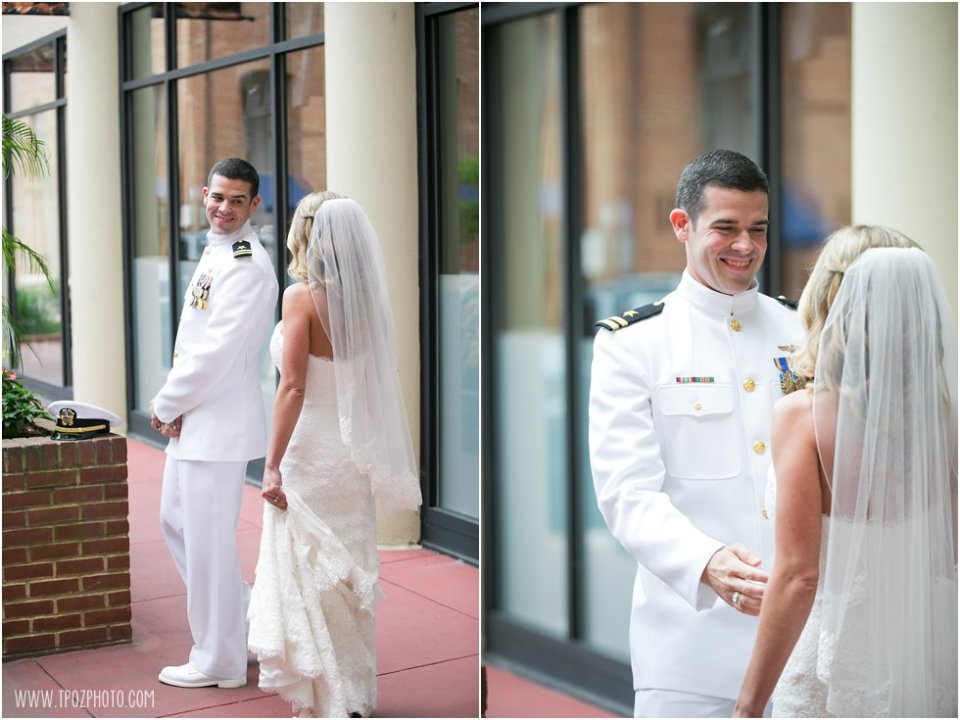 First Look - Loews Annapolis Wedding Prep  •  tPoz Photography  •  www.tpozphoto.com