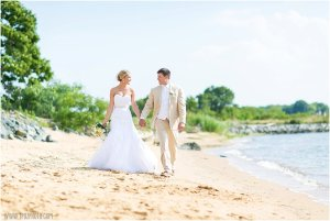 Chesapeake Bay Beach Club wedding, bride & groom on the beach