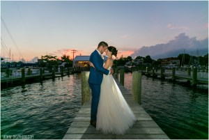 Annapolis Maritime Museum wedding couple at sunset