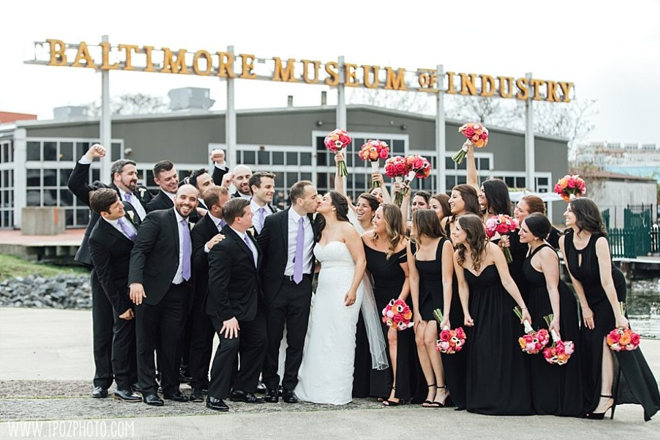 Baltimore Museum of Industry Wedding Party kissing
