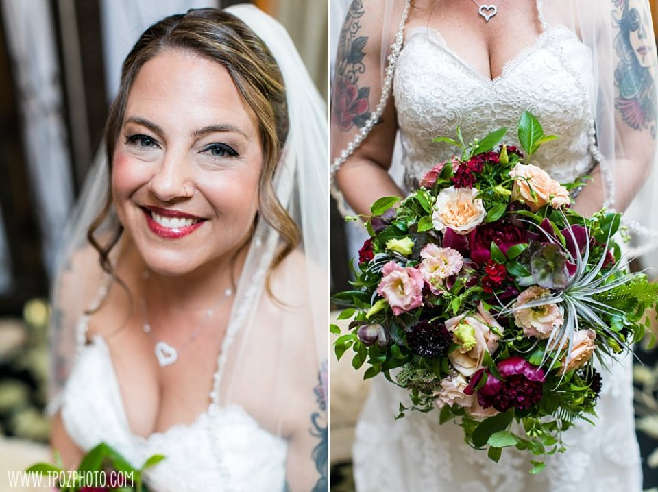 Crimson & Clover Designs bouquet and a tattooed bride at a Chase Court Wedding || tPoz Photography || www.tpozphoto.com
