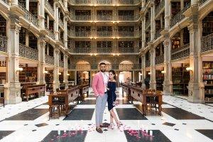Peabody Library wedding proposal