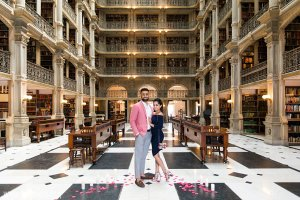 Peabody Library wedding proposal