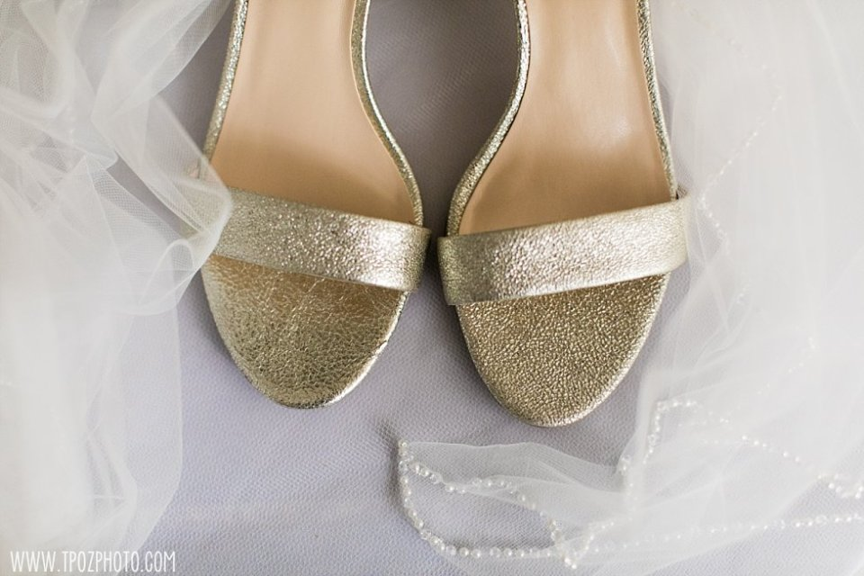 Nine West Gold Wedding shoes • tPoz Photography  •  www.tpozphoto.com