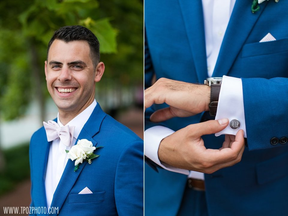 Groom in a blue suit and pink bow tie with cufflinks • tPoz Photography  •  www.tpozphoto.com