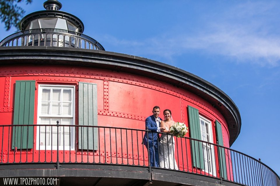 Pier 5 Lighthouse Wedding Bride and Groom