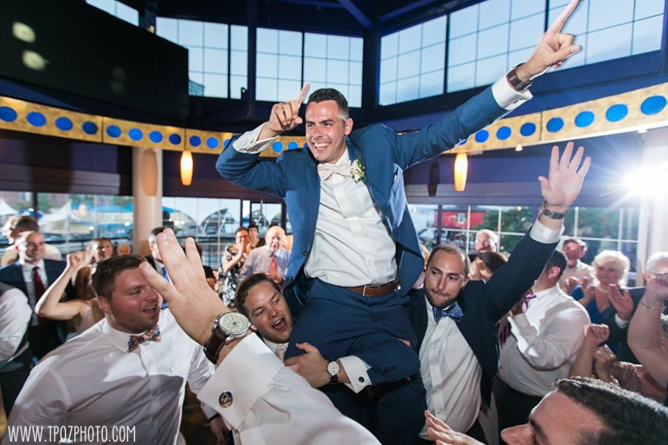 Groomsmen dancing at Pier 5 Wedding Reception • tPoz Photography  •  www.tpozphoto.com