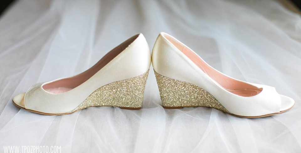 Gold glitter and white wedding shoes •  tPoz Photography • www.tpozphoto.com