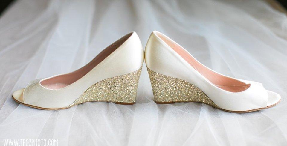 Gold glitter and white wedding shoes • tPoz Photography • www.tpozphoto.com