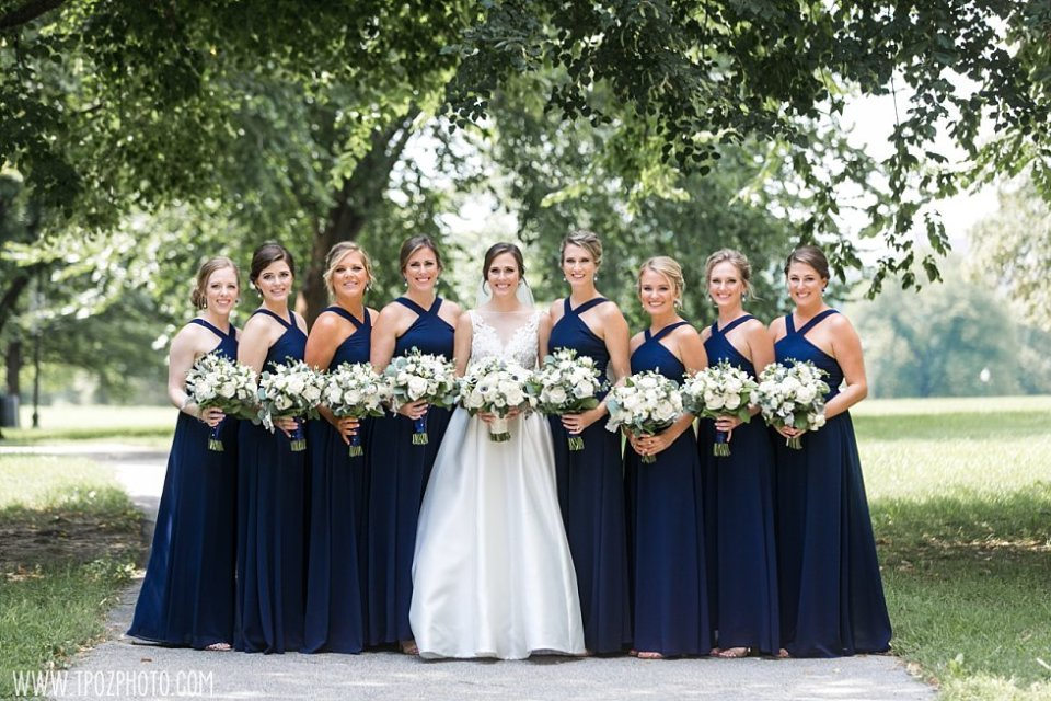 Patterson Park Wedding Party in Navy dresses with white bouquets •  tPoz Photography • www.tpozphoto.com