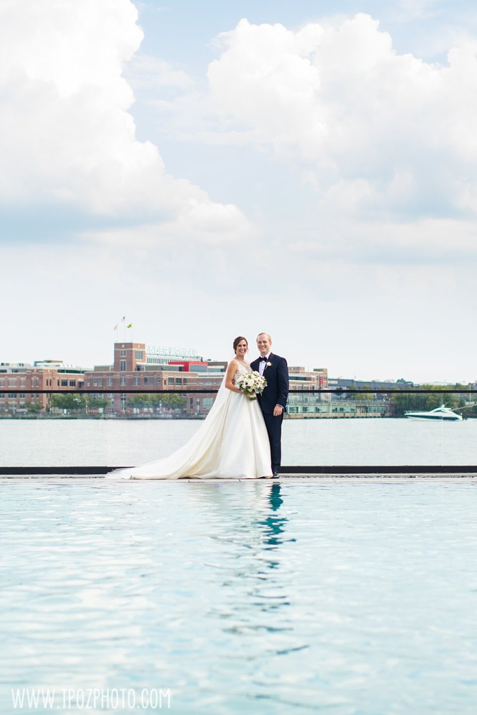 Sagamore Pendry Pool wedding photos bride & groom •  tPoz Photography • www.tpozphoto.com