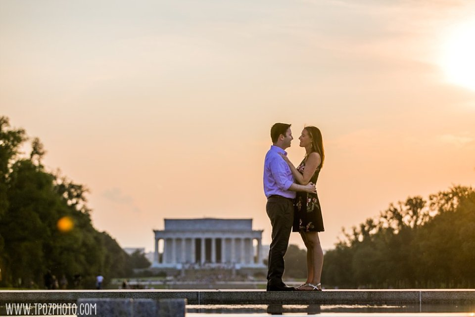 Sunset Engagement Session at the Lincoln Memorial • tPoz Photography  •  www.tpozphoto.com