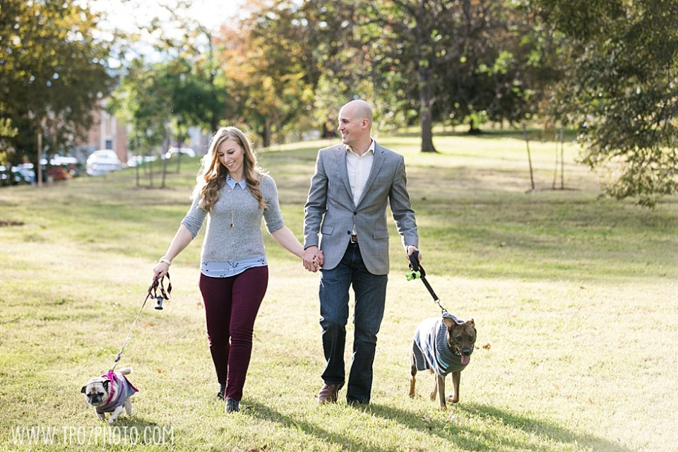 Walking the dogs - Canton Engagement Photos  • tPoz Photography  •  www.tpozphoto.com