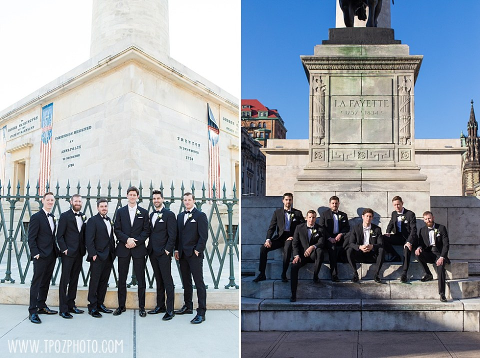 Groomsmen portrait at Mt Vernon's Washington Monument