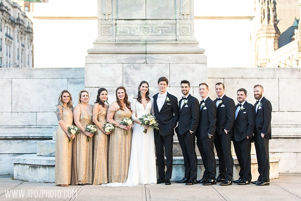 Bridesmaids and groomsmen at the Washington Monument in Mt. Vernon