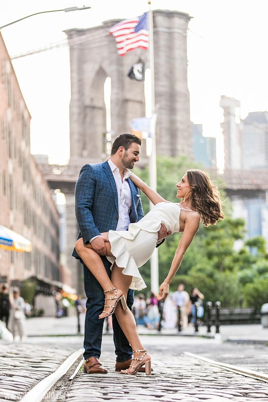 Brooklyn Bridge cobblestone engagement photos
