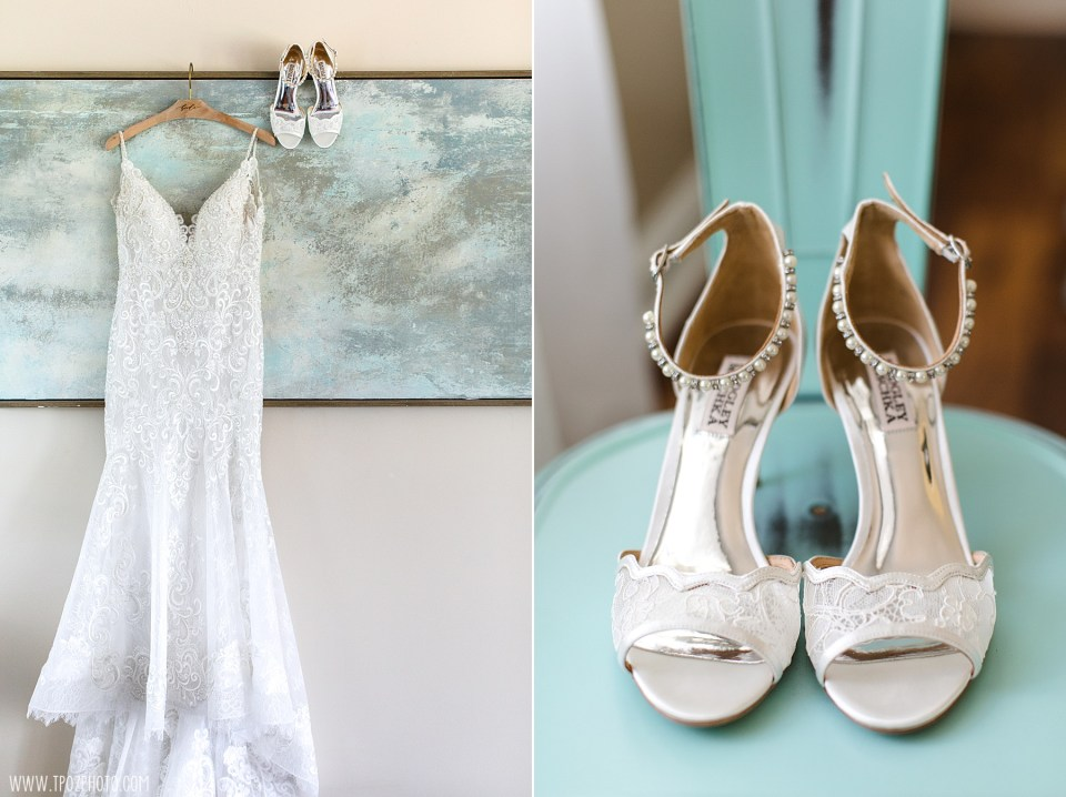 Wedding Dress and Badgely Mischka lace heels Hanging up in the Bridal Suite